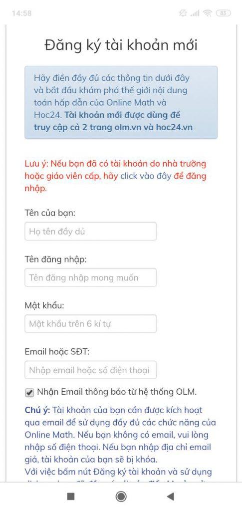 đăng nhập olm, học trực tuyến OLM