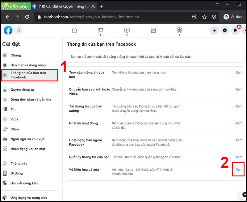 cách khoá tài khoản facebook, cách vô hiệu hoá tài khoản facebook