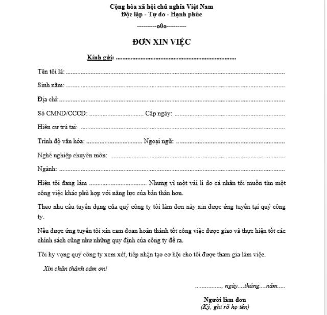 cách viết đơn xin việc, đi xin việc, hồ sơ xin việc