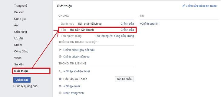 đổi tên fanpage, hướng dẫn đổi tên fanpage facebook