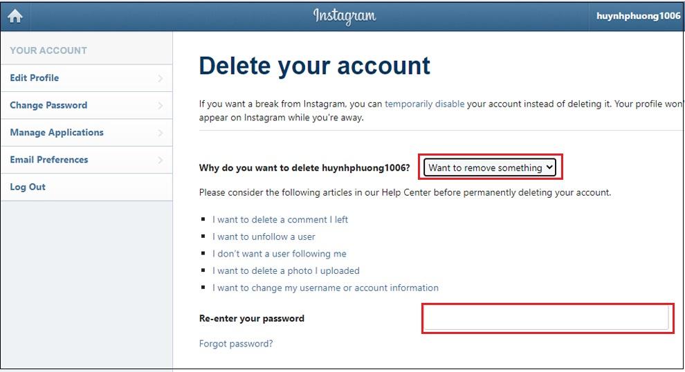 cách xoá tài khoản instagram, cách vô hiệu hoá tài khoản instagram