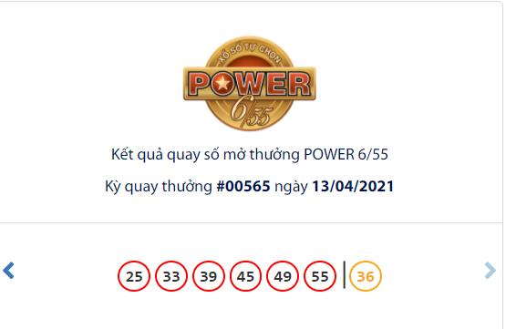 Kết quả xổ số Vietlott hôm nay 13/4: Vietlott Power 6/55 kỳ quay số 00565