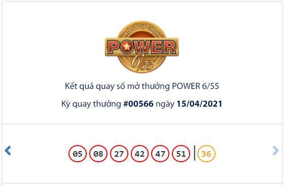 Kết quả xổ số Vietlott hôm nay 15/4: Vietlott Power 6/55 kỳ quay số 00566