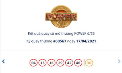 Kết quả xổ số Vietlott hôm nay 17/4: Vietlott Power 6/55 kỳ quay số 00567