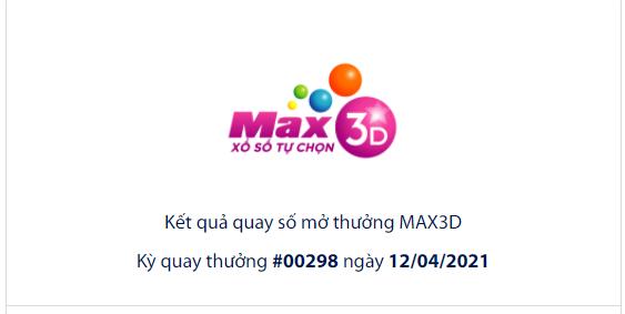 Kết quả xổ số Vietlott hôm nay 12/4: Xổ số Vietlott Max 3D của kỳ quay số 00298