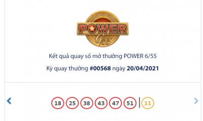 Kết quả xổ số Vietlott hôm nay 20/4: Vietlott Power 6/55 kỳ quay số 00568