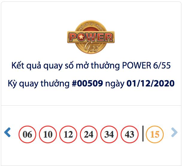 Kết quả xổ số Vietlott hôm nay, kết quả xổ số Vietlott 1/12, xổ số Vietlott Power 6/55