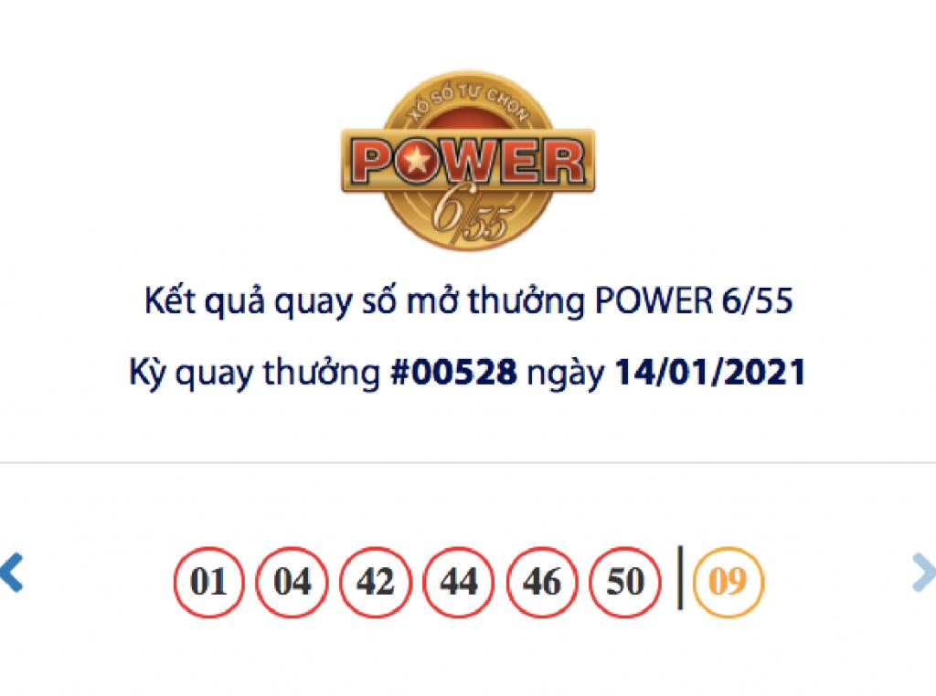 Kết quả xổ số Vietlott hôm nay 14/1: Vietlott Power 6/55 kỳ quay số 00528
