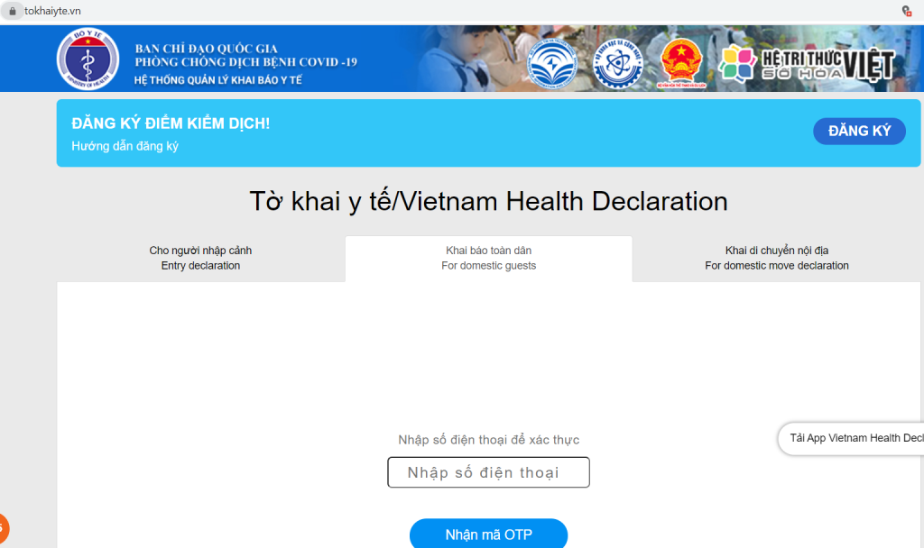 khai báo y tế, khai báo y tế online