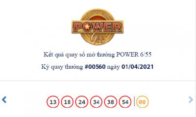 Kết quả xổ số Vietlott hôm nay 1/4: Vietlott Power 6/55 kỳ quay số 00560