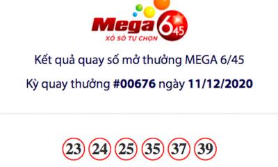 Kết quả xổ số Vietlott hôm nay 11/12: Vietlott Mega 6/45 kỳ quay số 00676