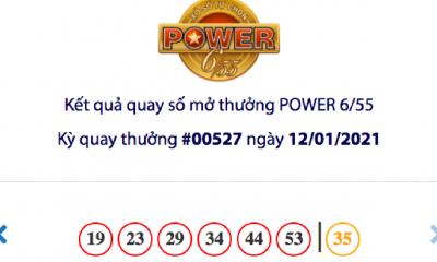 Kết quả xổ số Vietlott hôm nay 12/1: Vietlott Power 6/55 kỳ quay số 00527