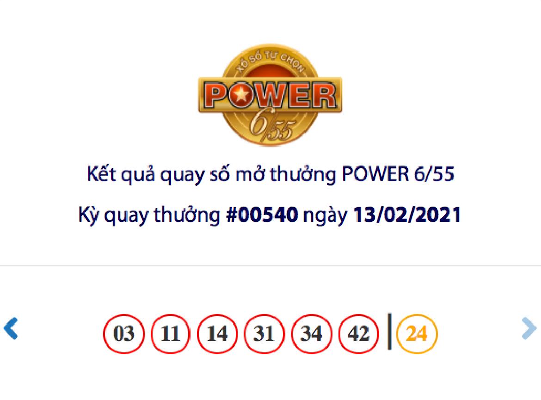 Kết quả xổ số Vietlott hôm nay 13/2: Vietlott Power 6/55 kỳ quay số 00540