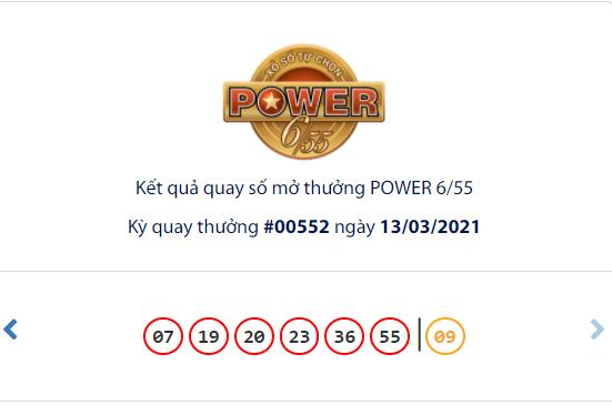 Kết quả xổ số Vietlott hôm nay 13/3: Vietlott Power 6/55 kỳ quay số 00552