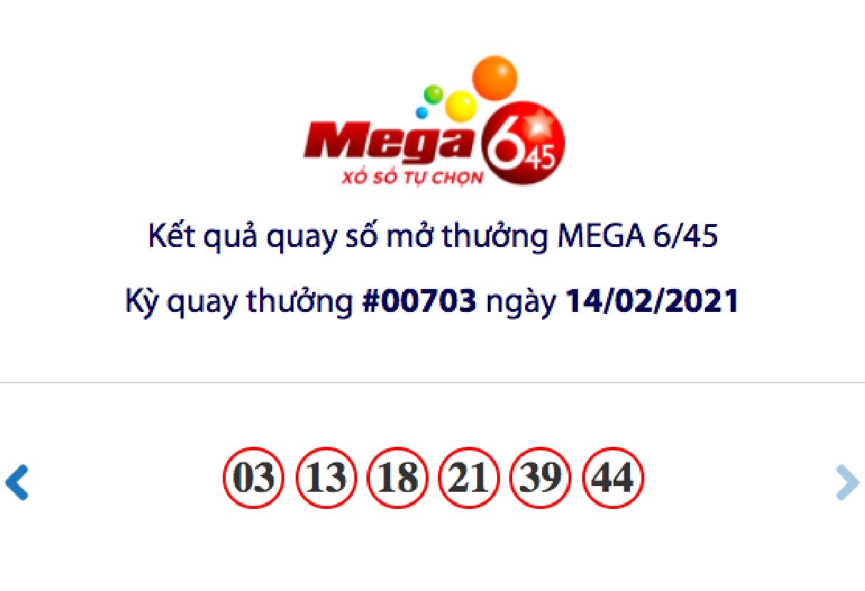 Kết quả xổ số Vietlott hôm nay 14/2: Vietlott Mega 6/45 kỳ quay số 00703