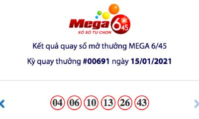 Kết quả xổ số Vietlott hôm nay 15/1: Vietlott Mega 6/45 kỳ quay số 00691