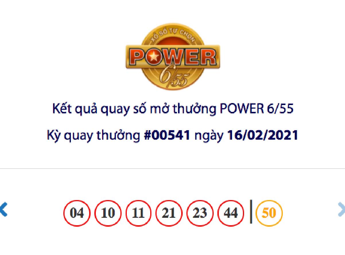 Kết quả xổ số Vietlott hôm nay 16/2: Vietlott Power 6/55 kỳ quay số 00541
