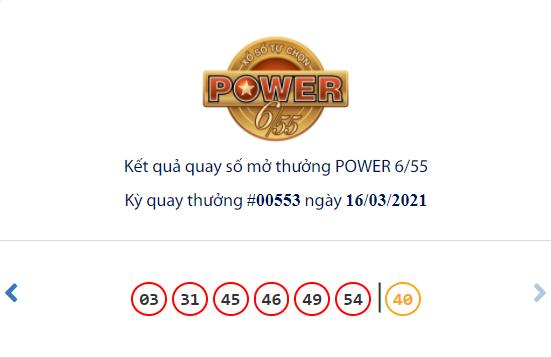 Kết quả xổ số Vietlott hôm nay 16/3: Vietlott Power 6/55 kỳ quay số 00553