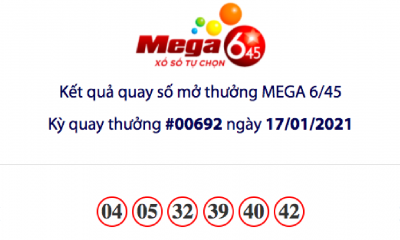 Kết quả xổ số Vietlott hôm nay 17/1: Vietlott Mega 6/45 kỳ quay số 00692