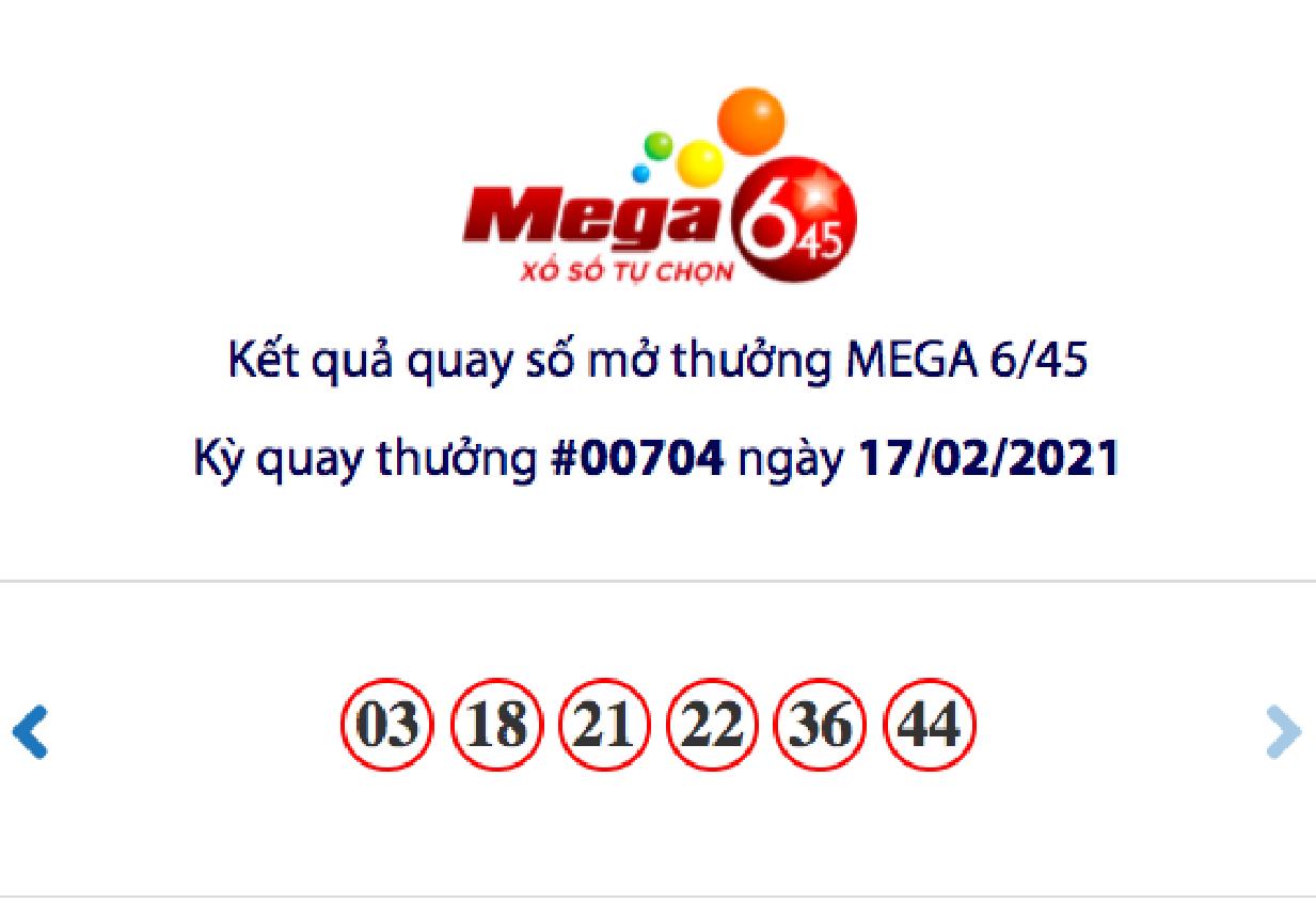 Kết quả xổ số Vietlott hôm nay 17/2: Vietlott Mega 6/45 kỳ quay số 00704