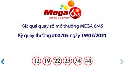 Kết quả xổ số Vietlott hôm nay 19/2: Vietlott Mega 6/45 kỳ quay số 00705
