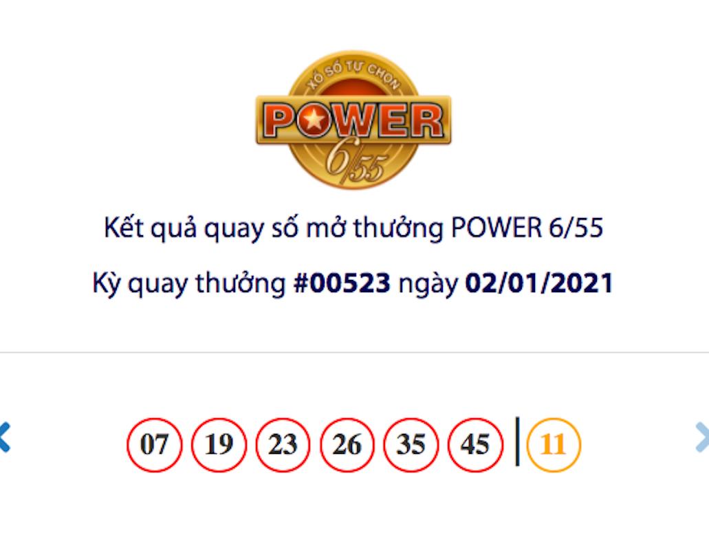Kết quả xổ số Vietlott hôm nay 2/1: Vietlott Power 6/55 kỳ quay số 00523