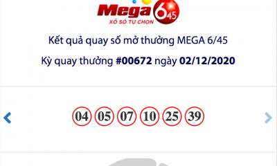 Kết quả xổ số Vietlott hôm nay ngày 2/12: Vietlott Mega 6/45 kỳ quay số 00672