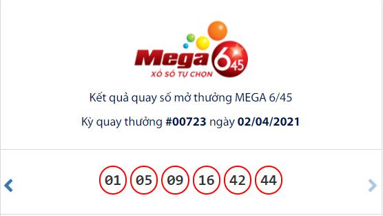 Kết quả xổ số Vietlott hôm nay 2/4: Vietlott Mega 6/45 kỳ quay số 00723
