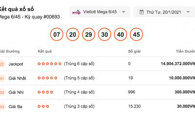 Kết quả xổ số Vietlott hôm nay 20/1: Vietlott Mega 6/45 kỳ quay số 00693