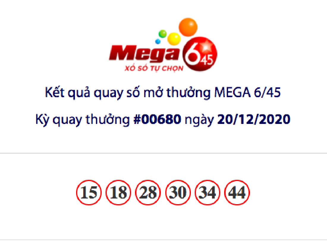 Kết quả xổ số Vietlott hôm nay 20/12: Vietlott Mega 6/45 kỳ quay số 00680