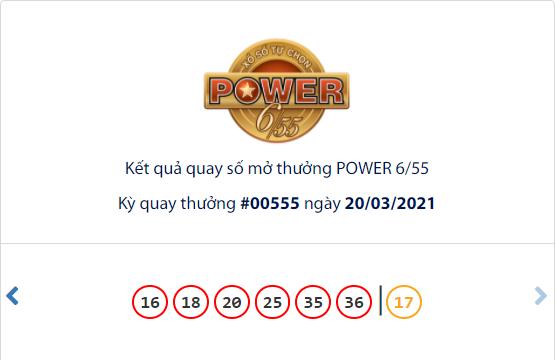 Kết quả xổ số Vietlott hôm nay 20/3: Vietlott Power 6/55 kỳ quay số 00555