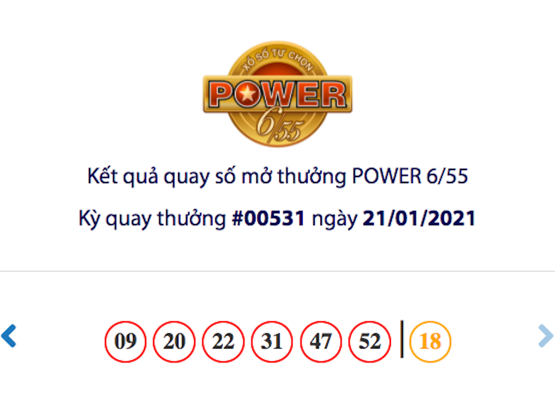 Kết quả xổ số Vietlott hôm nay 21/1: Vietlott Power 6/55 kỳ quay số 00531