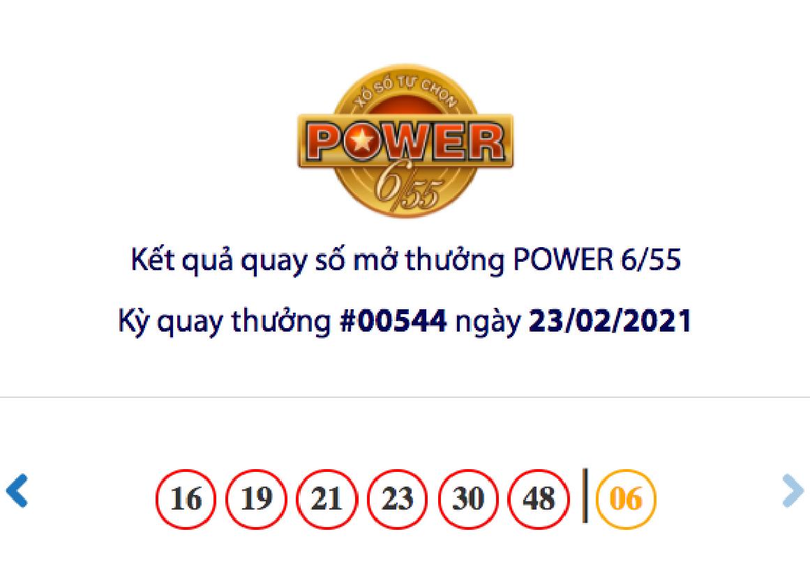 Kết quả xổ số Vietlott hôm nay 23/2: Vietlott Power 6/55 kỳ quay số 00544