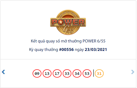 Kết quả xổ số Vietlott hôm nay 23/3: Vietlott Power 6/55 kỳ quay số 00556