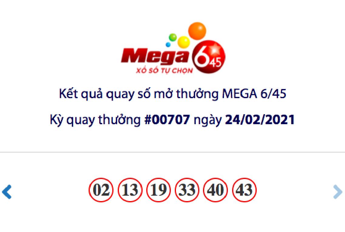Kết quả xổ số Vietlott hôm nay 24/2: Vietlott Mega 6/45 kỳ quay số 00707