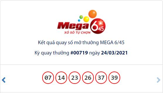 Kết quả xổ số Vietlott hôm nay 24/3: Vietlott Mega 6/45 kỳ quay số 00719