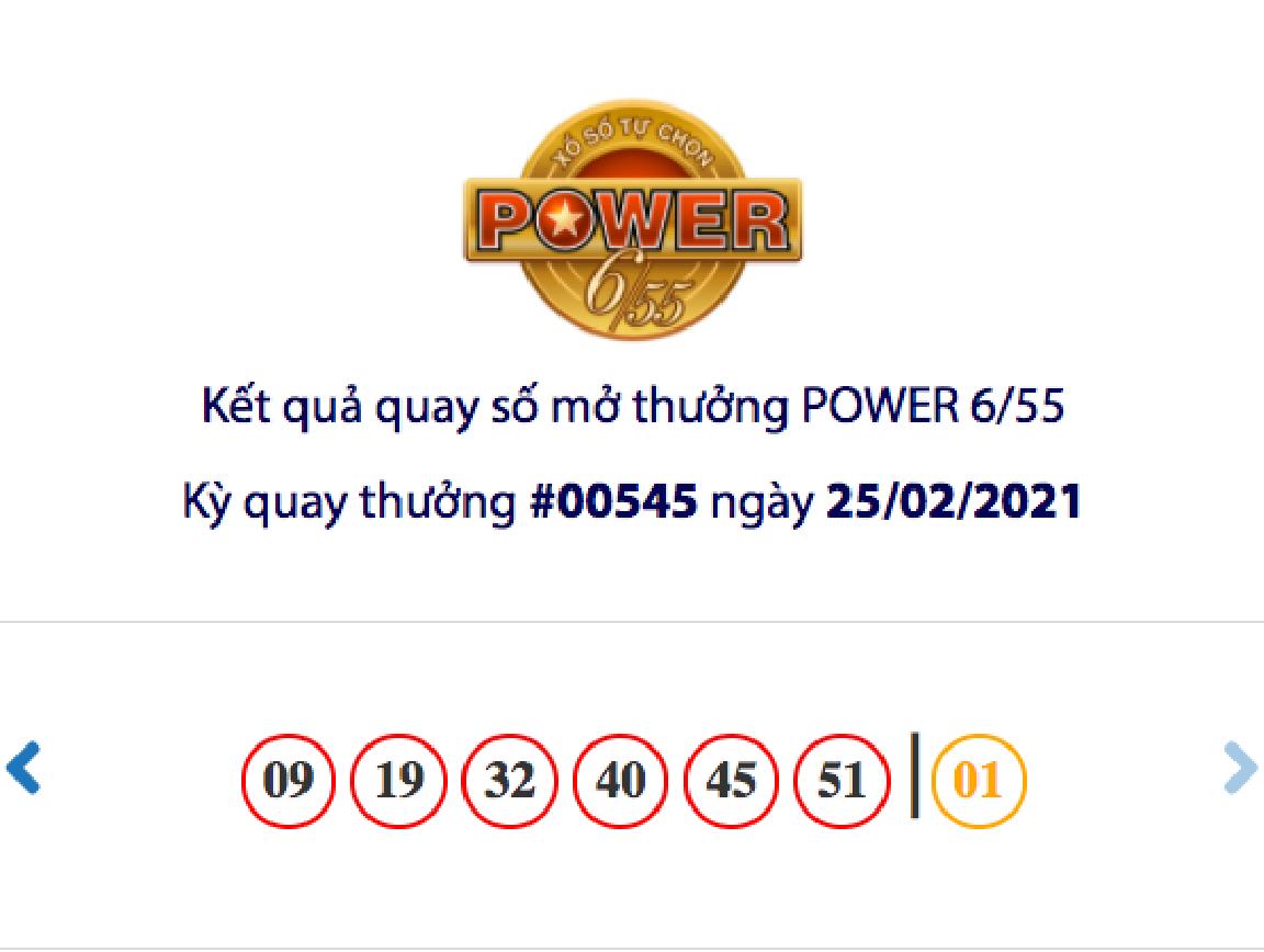 Kết quả xổ số Vietlott hôm nay 25/2: Vietlott Power 6/55 kỳ quay số 00545