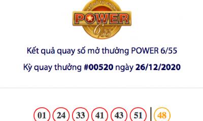 Kết quả xổ số Vietlott hôm nay 26/12: Vietlott Power 6/55 kỳ quay số 00520