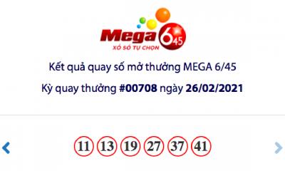 Kết quả xổ số Vietlott hôm nay 26/2: Vietlott Mega 6/45 kỳ quay số 00708