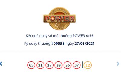 Kết quả xổ số Vietlott hôm nay 27/3: Vietlott Power 6/55 kỳ quay số 00558