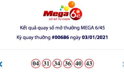 Kết quả xổ số Vietlott hôm nay 3/1: Vietlott Mega 6/45 kỳ quay số 00686