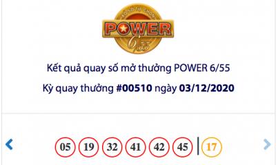 Kết quả xổ số Vietlott hôm nay 3/12: Vietlott Power 6/55 kỳ quay số 00510