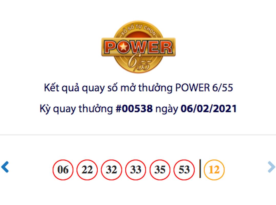 Kết quả xổ số Vietlott hôm nay 6/2: Vietlott Power 6/55 kỳ quay số 00538