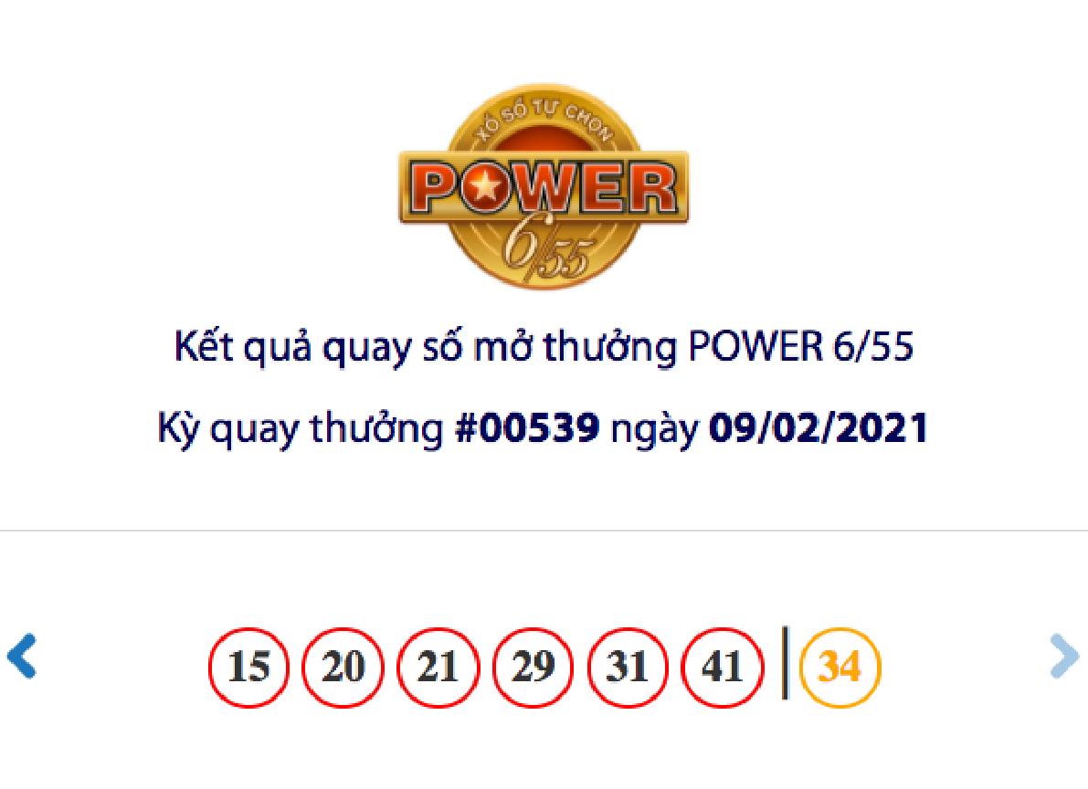 Kết quả xổ số Vietlott hôm nay 9/2: Vietlott Power 6/55 kỳ quay số 00539