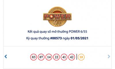 Kết quả xổ số Vietlott hôm nay 1/5: Vietlott Power 6/55 kỳ quay số 00573