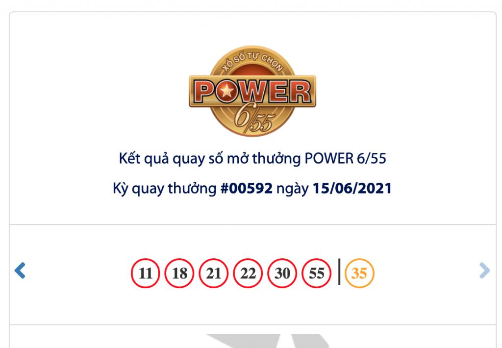 Kết quả xổ số Vietlott hôm nay 15/6: Xổ số Vietlott Power 6/55 kỳ quay số 00592
