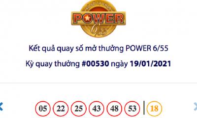 Kết quả xổ số Vietlott hôm nay 19/1: Vietlott Power 6/55 kỳ quay số 00530
