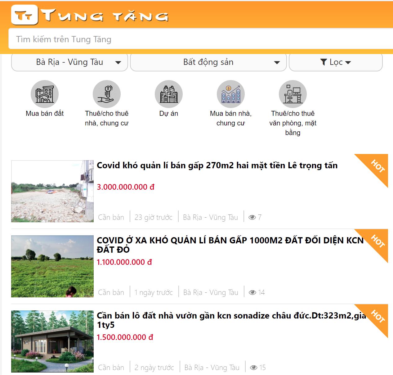 Kênh rao vặt Bà Rịa - Vũng Tàu mua bán nhà đất triệu người xem
